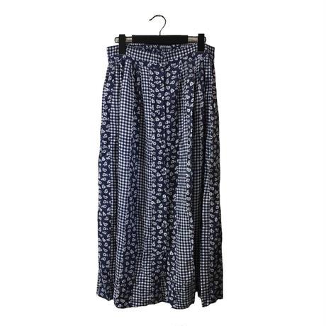 flower check  design skirt