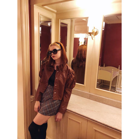 arm volume leather jacket brown