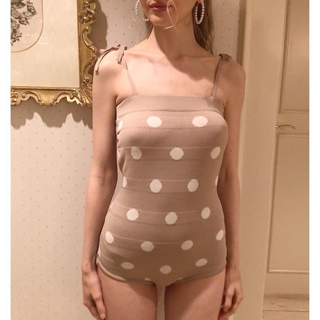 knit dot swim wear beige