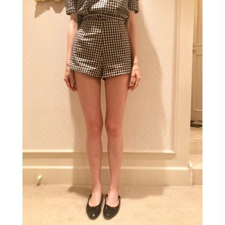 high-waist check short pants  black