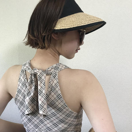 Burberry check design back ribbon tops