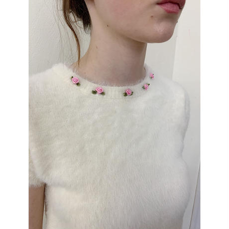 rose mohair knit ivory