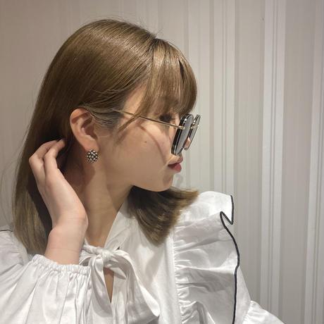 black rhinestone vintage earring(No.3775)