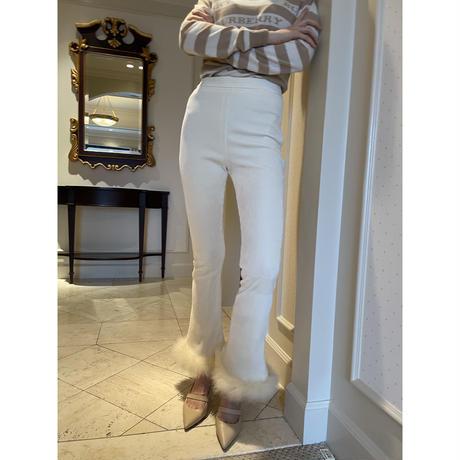 high-waist fit corduroy fur pants ivory