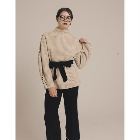 arm stitch bi-color knit beige