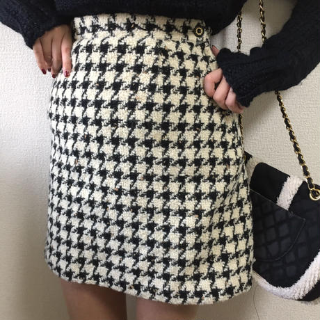 tweed check mini skirt monotone