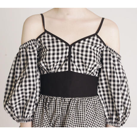 offshoulder gingham check blouse black