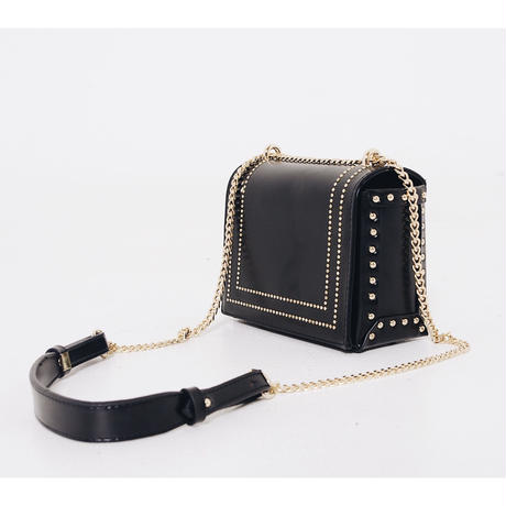 gold studs square chain bag
