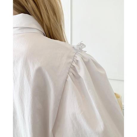 flower frill arm volume blouse