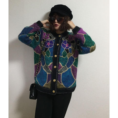 design flower knit  cardigan