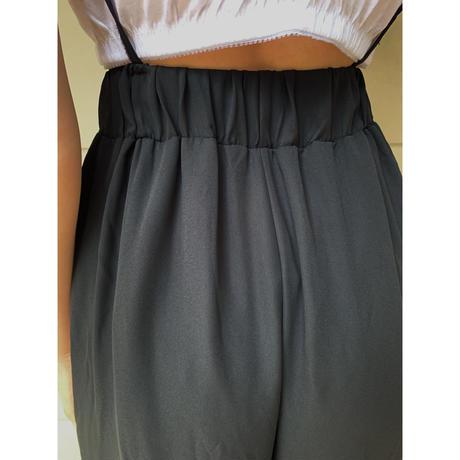 see-through chiffon frill pants black