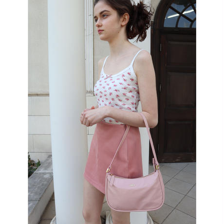 flower ribbon camisole white×pink