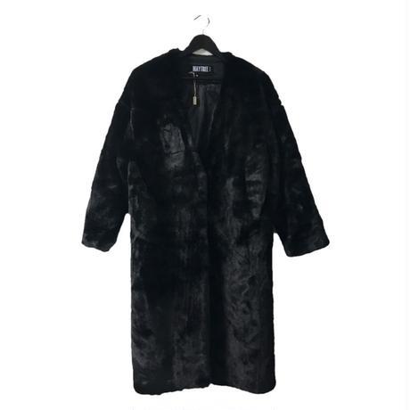 fur long coat black