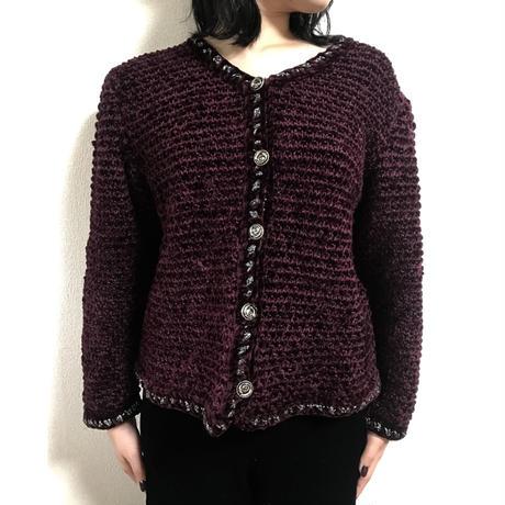 piping design wine knit cardigan