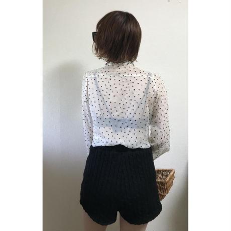 Heart design chiffon frill blouse