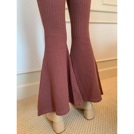 rib knit bell  pants rose brown