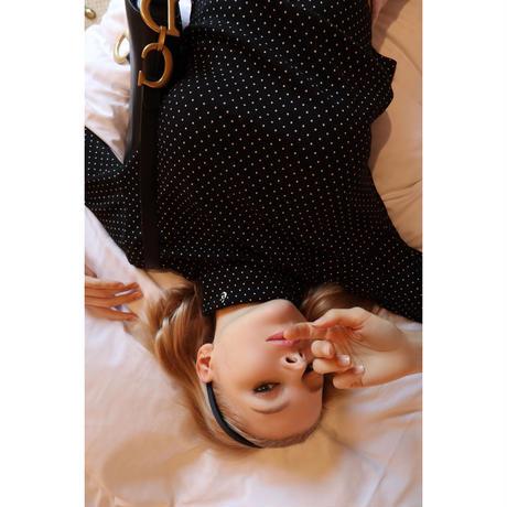 é embroidery rib cotton high neck dot