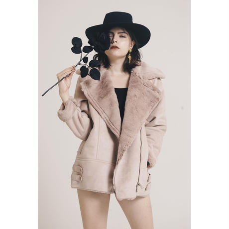 mouton fur coat dusty pink