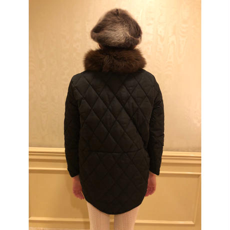 fur quilting down coat black