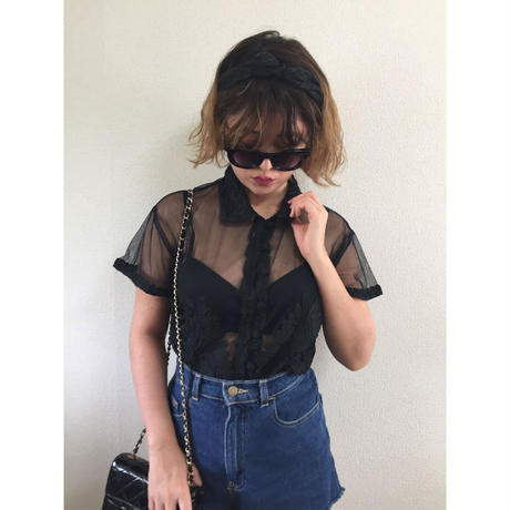 see-through cord embroidery shirt