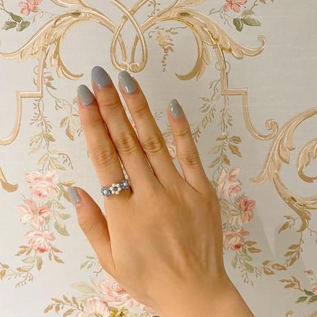 3 flower ring ice blue