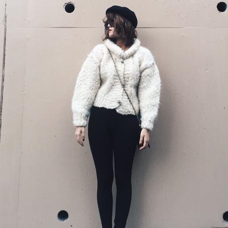 white knit blouson