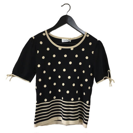 courrèges dot boarder design tee