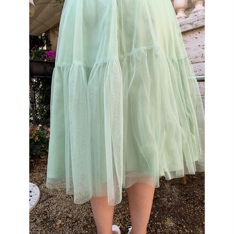 tulle see-through volume dress pistàcchio