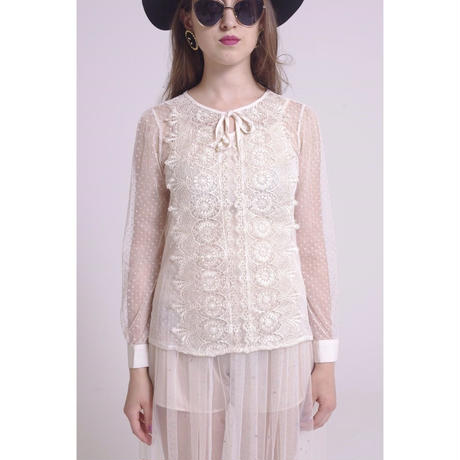 see-through dot lace tops beige