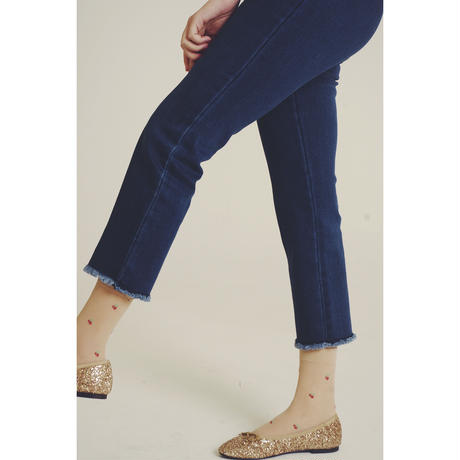 high-waist blue denim  pants