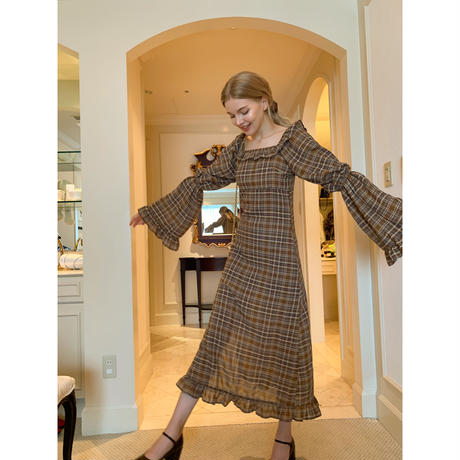 bell sleeve check sheer slit onepiece brown