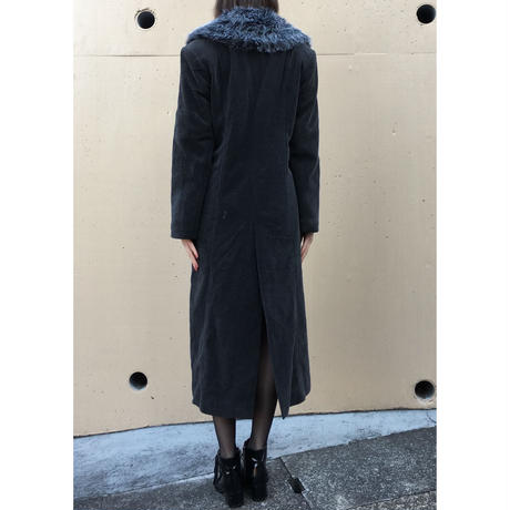fur slit long coat