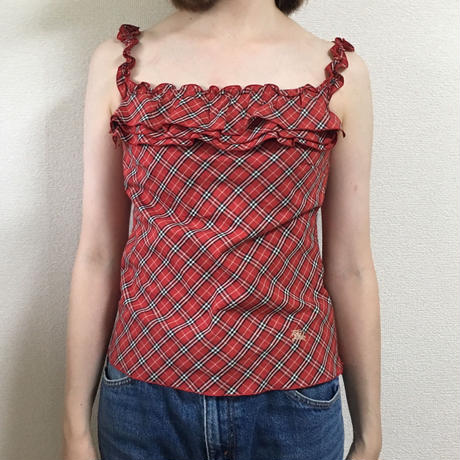 Burberry check design frill camisole red