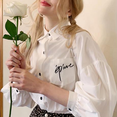 épine embroidery arm volume shirt white