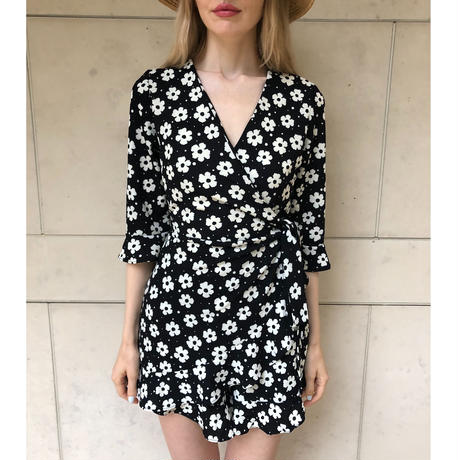 rétro flower rompers black