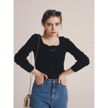 épine rhinestone logo square neck knit black