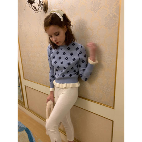 flower frill knit ice blue