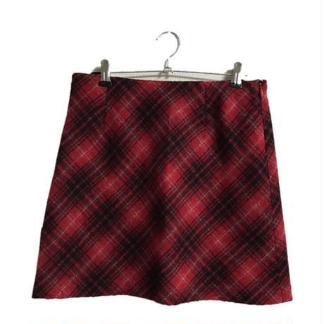 wool check mini skirt