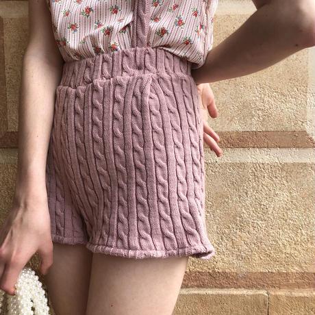 cable knit 2way short pants pink