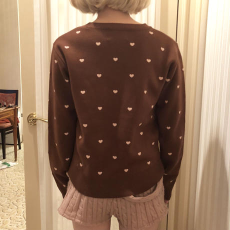 heart embroidery knit brown
