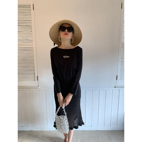épine embroidery long tee black