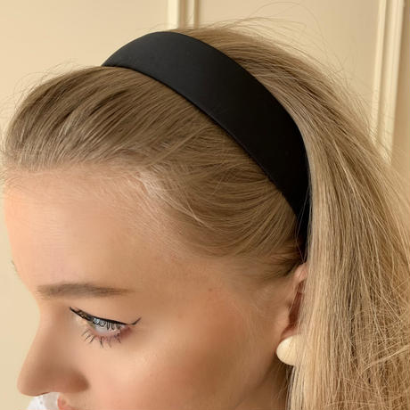 satin headband black