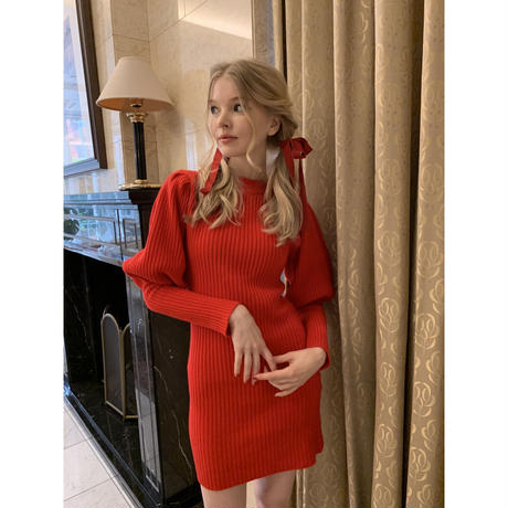 arm volume knit onepiece red