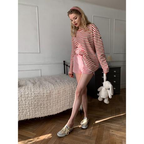 side slit velours short pants baby pink