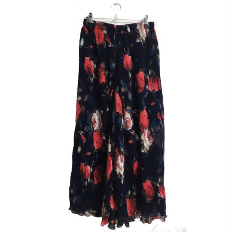 flower pleats pants black
