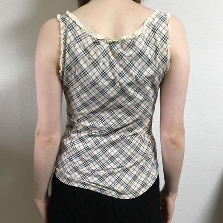 Burberry check lace design tops(No2918)