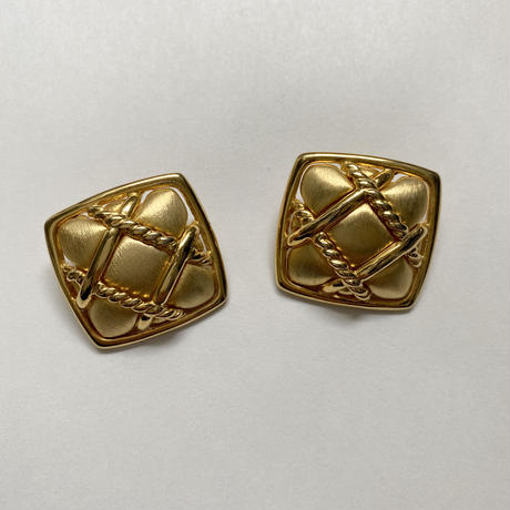quilting square vintage earring(No.4222)