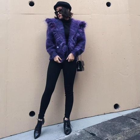 fringe design knit coat purple