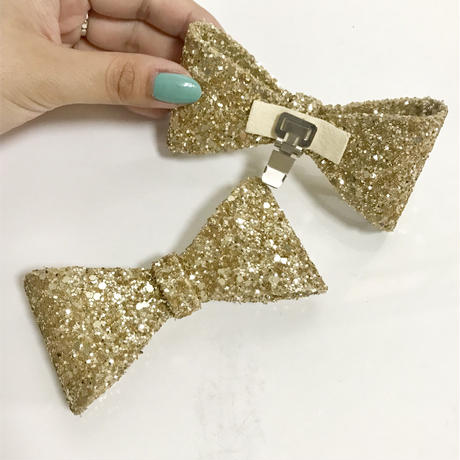 big ribbon 2way sandal glitter gold