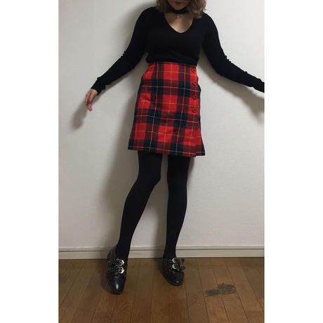tweed check skirt red